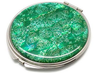 コンパクトミラー 天然貝仕様(三英傑アラベスク・ミント)<螺鈿アート>の画像