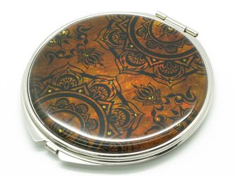 コンパクトミラー 天然貝仕様(メヘンディ)<螺鈿アート>の画像