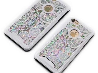 iPhone7/7Plusケース 天然貝仕様(ホワイトレース・ホワイトタイプ) <螺鈿アート>の画像