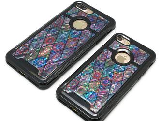 iPhone7/7Plusケース 天然貝仕様(ピンクモロッコタイル・ブラックタイプ) <螺鈿アート>の画像