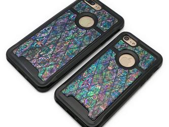iPhone7/7Plusケース 天然貝仕様(ブルーモロッコタイル・ブラックタイプ) <螺鈿アート>の画像