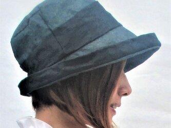 機能性和紙帽子グリーン色と黒色の和紙帽子の画像