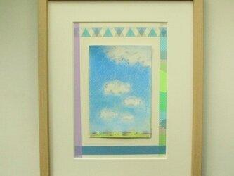 絵画 インテリア 墨と水彩 クレパスのコラボ画 sky 2の画像