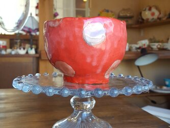 赤の水玉フリーカップの画像
