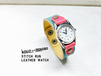 ▲STITCH 元気になるしかない!キャンディーポップ「ステッチラン 腕時計」見やすい文字盤(SRW-TYR-OA)の画像