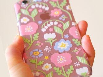 Android系多機種対応ハードケース【春待ちパステルフラワー*Pink】の画像