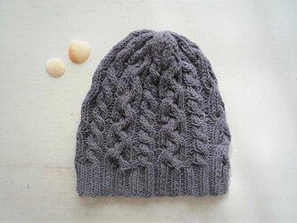 コットン帽子O・なわ編み×2[ダークグレー]の画像