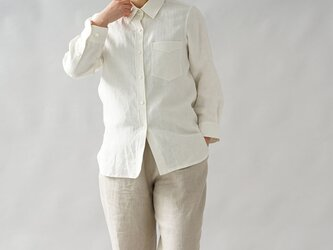 【wafu+】中厚 リネン 本格 premium シャツ 長袖シャツ シンプル 白シャツ/ホワイト t032a-wht2の画像