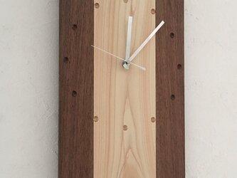 桧とウォールナットの掛時計 電波時計orスイープ式 ウォールクロックの画像
