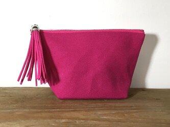 帆布 シンプルポーチ ピンクの画像