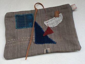 手織り木綿のコラージュ バッグインバッグの画像