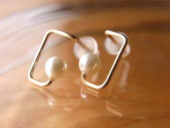 PBP-137 14kgf wire pierced earrings (rectangle+pearl)の画像