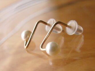 PBP-138 14kgf wire pierced earrings (tick+pearl)の画像