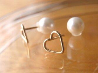 PBP-123 14kgf wire pierced earrings (heart + pearl)の画像