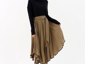 デザインフレアのプリーツスカート★カーキ★送料無料有りの画像