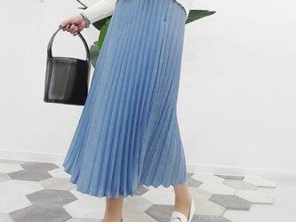 光沢感のある上質な生地で作ったプリーツロングスカート 4色★送料無料有りの画像