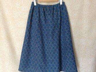 ウール着物地ギャザースカート 小花ストライプの画像