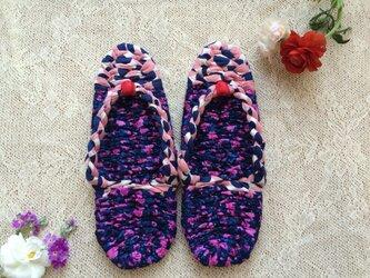 布ぞうり 〈桃紫の水玉〉Mサイズの画像