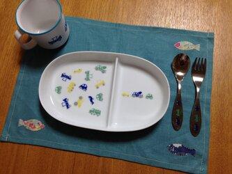 通園通学に♪お弁当ランチクロス&箸袋☆リバティさかなアップリケの画像