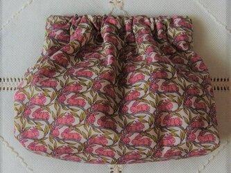 パクパクポーチ コットンテイル(ピンクのうさぎ)リバティ社タナローン使用の画像