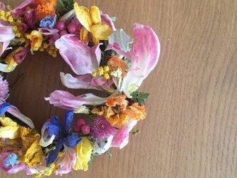 乙女な春リース 小さいサイズで作りました。の画像