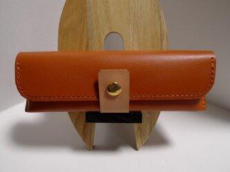 「受注制作」オレンジキャメルのヌメ革ペンケースの画像