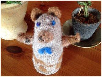 北欧風✩ステキな蝶ネクタイのクマさんの編みぐるみの画像