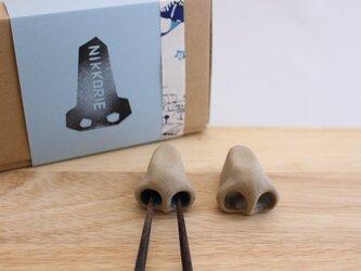 鼻の穴はしおき2つセット(鼻全体:グレイベージュ色×穴:鼻水&白)の画像