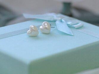 【ハートのあこや真珠】スタットタイプのピアス【あこや真珠】silver925P製 EP-2243の画像
