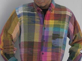 さをり織りメンズシャツ送料無料の画像