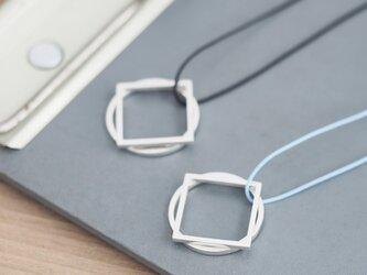 String 丸・四角 2way ロング ネックレス シルバー925の画像