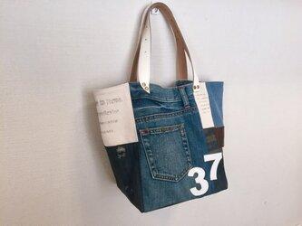 新作☆デニム&倉敷8号帆布トートバッグ Mサイズ ダメージ白革37の画像