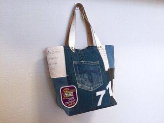 新作☆デニム&倉敷8号帆布トートバッグ Mサイズ 筆アート白革71の画像