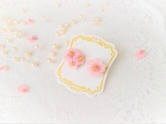 受注制作*桜ピアス(レース編み)の画像