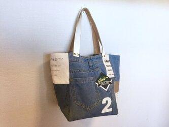 新作☆デニム&倉敷8号帆布トートバッグ Mサイズ カリフォルニア白革2の画像