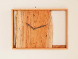 木製 箱型 掛け時計 欅(ケヤキ)材1の画像