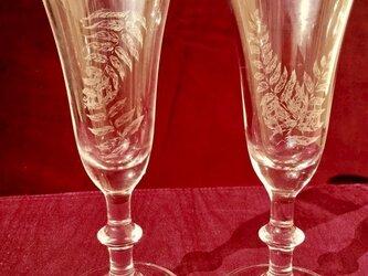シダのペアグラス 〜手彫りガラス〜の画像