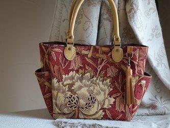 サイドポケットバッグS(英国輸入生地ウィリアムモリス:ハニーサックル&チューリップ赤茶色)の画像