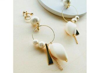 cottonpearl vintage twist hoop earringの画像