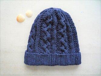 コットン帽子・なわ編み×かのこ編み[ネイビー]の画像