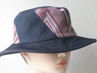 魅せる帽子☆男女兼用♪ブラックデニムのリバーシブルハットの画像