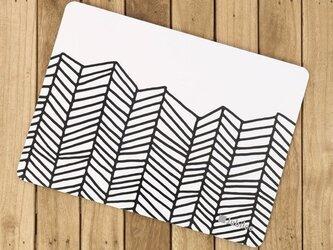 コルクマット 2枚組 ブラックホワイトウェーブ Lamoppeデザイン jubileeteatowelcpm016の画像