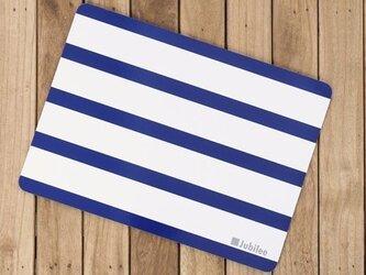 コルクランチョンマット 2枚セット ネイビーボーダーオンホワイト マリン jubileeteatowelcpm010の画像