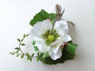 white anemone コサージュ の画像