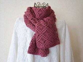 鉤針編みのストール(アンティークローズ)の画像