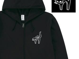 ★Tシャツ生地★ びっくりなねこ ジップパーカー【受注生産品】の画像