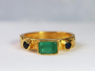 古代スタイル*エメラルド 指輪* 8.5号 スターリングシルバー(ゴールド)の画像