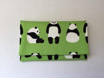 懐紙、通帳いれ Panda light greenの画像