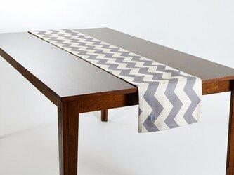 テーブルランナー 北欧柄 グレーシェブロン 天然リネン 183×30cm jubileetabletr048の画像