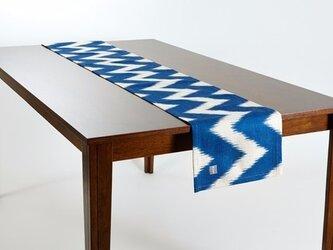 テーブルランナー 北欧柄 ブルーウェーブ 天然リネン 183×30cm jubileetabletr047の画像